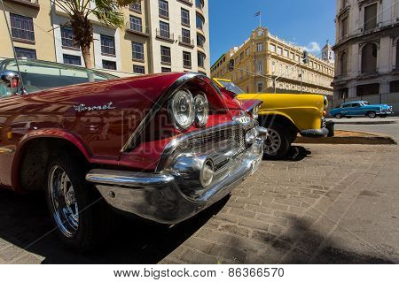 Havana - February 25: Classic Car And Antique Buildings On February 25, 2015 In Havana. These Vintag