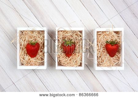Three mini wood crates filled with straw each with a single large ripe strawberry. High angle shot on a rustic whitewashed wood table with copy space.
