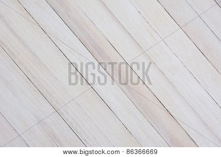 Closeup of a rustic whitewashed wood background. The boards are at an angle.