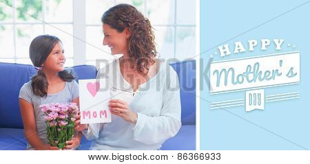 mothers day greeting against cute girl offering flowers and card to her mother