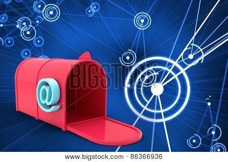 Red email post box against futuristic glowing circles