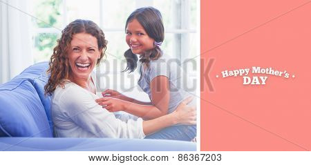 mothers day greeting against happy mother and daughter having fun