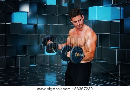 Bodybuilder lifting dumbbell against blue and black tile design
