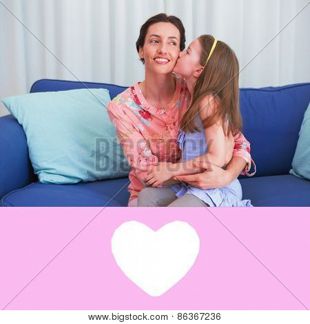 heart against little girl kissing her mother