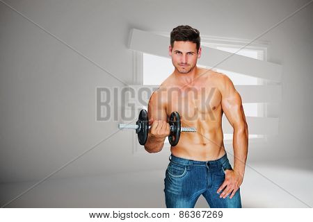 Attractive bodybuilder against digitally generated room with bordered up window
