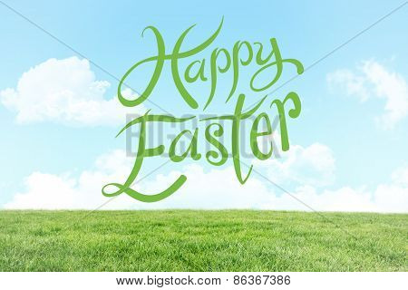 happy easter against field and sky