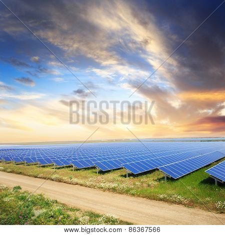 Solar Panels With Sunset's Sky