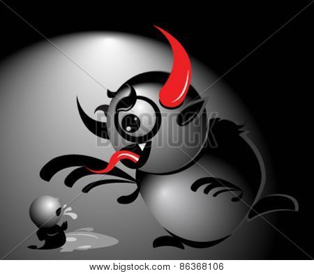 Vector illustration of Krampus style monster bullying a little kid. Concept about bullying or Christmas traditions.