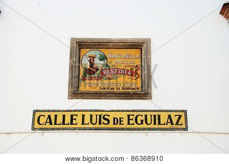 Manzanilla sign, Sanlucar de Barrameda.
