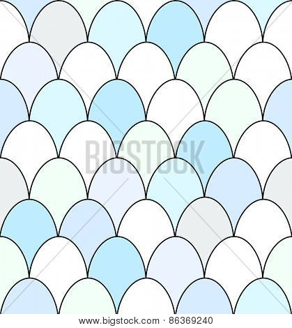 Seamless pattern of rows of blue and white duck eggs. EPS10 vector format