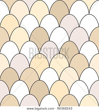 Seamless pattern of rows of brown and white chicken eggs. EPS10 vector format