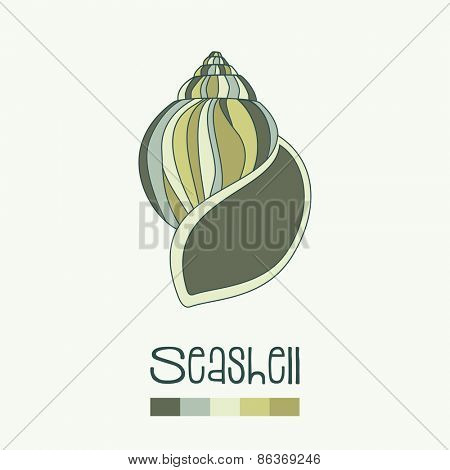 Hand drawn seashell in shades of green, with colour swatches. EPS10 vector format