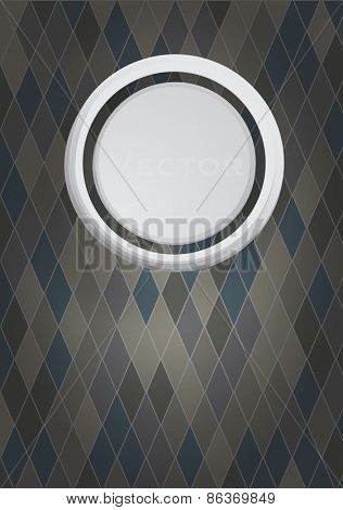 Stylish background with grey 3d circle on blue and brown rhombuses