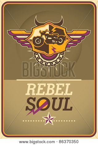 Poster with motorbike coat of arms. Vector illustration.
