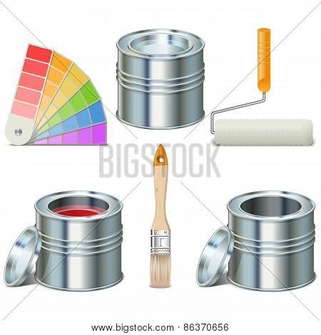 Vector Paint Can And Brush Icons
