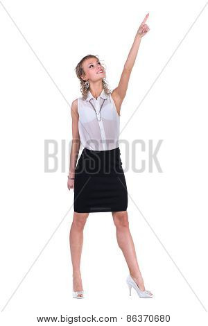 Young professional woman, pointing upwards.  Caucasian businesswoman isolated on white background