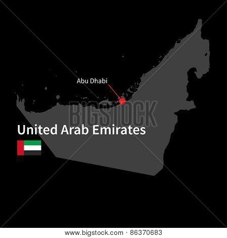 Detailed map of United Arab Emirates and capital city Abu Dhabi with flag on black background