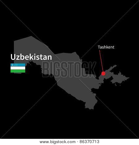 Detailed map of Uzbekistan and capital city Tashkent with flag on black background