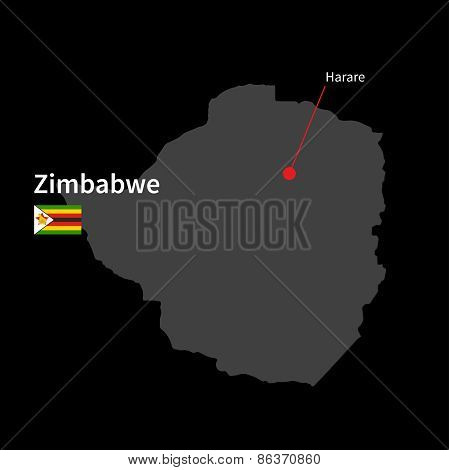 Detailed map of Zimbabwe and capital city Harare with flag on black background
