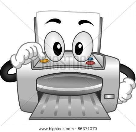 Mascot Illustration of a Printer Turning Itself On