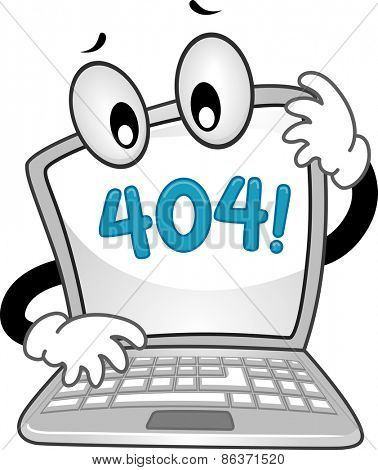 Mascot Illustration of a Confused Laptop Showing an Error 404 Sign