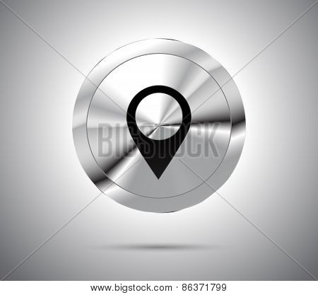 Shiny metallic button with location icon symbol