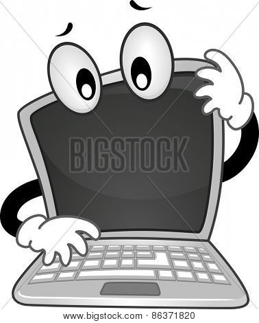 Mascot Illustration of a Confused Laptop with its Head Tilted to the Side