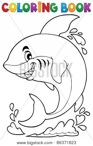 Coloring book with shark theme - eps10 vector illustration.
