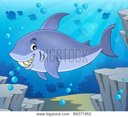 Image with shark theme 6 - eps10 vector illustration.