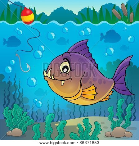Piranha fish underwater theme 3 - eps10 vector illustration.