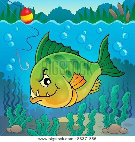 Piranha fish underwater theme 1 - eps10 vector illustration.