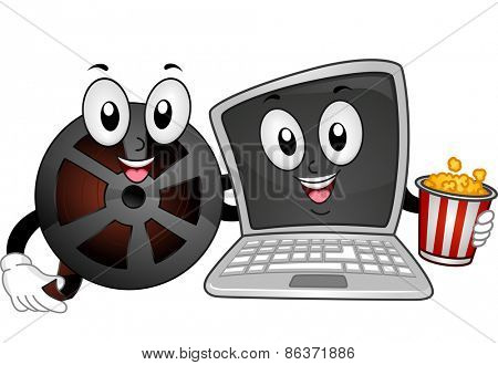 Mascot Illustration of a Film Reel and a Laptop Holding a Popcorn Bucket
