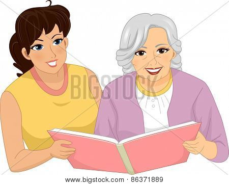 Illustration of a Woman Looking Through an Album with a Female Senior Citizen