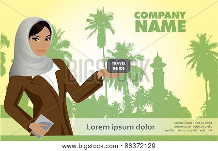 Woman With A Tourist Guide On A Tropical Background, Vector