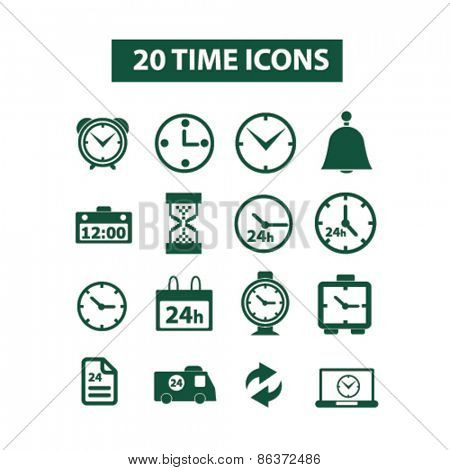 20 time, clocks icons, signs, illustrations set, vector