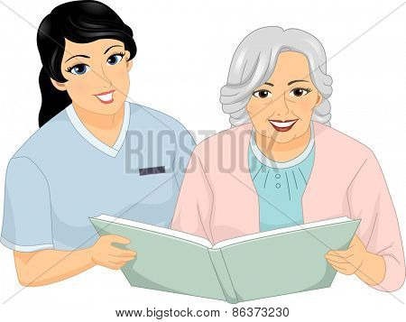 Illustration of a Nurse and a Female Senior Citizen Reading a Book Together