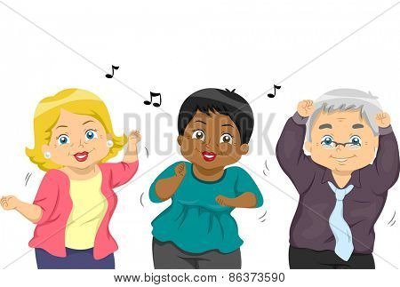 Illustration of a Group of Senior Citizens Dancing to a Tune