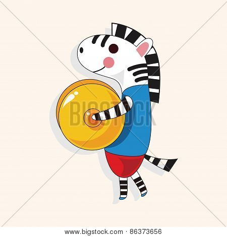 Animal Zebra Playing Instrument Cartoon Theme Elements