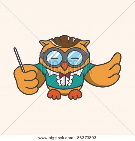 Animal Owl Playing Instrument Cartoon Theme Elements