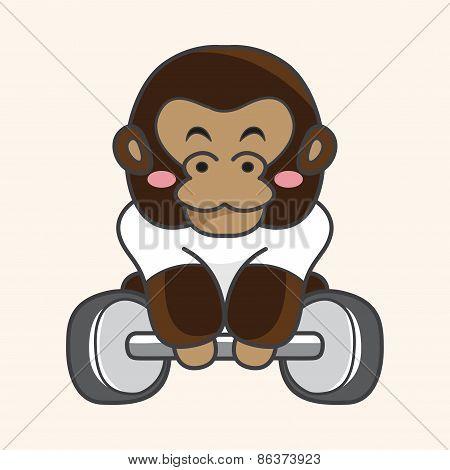 Animal Gorilla Doing Sports Cartoon Theme Elements