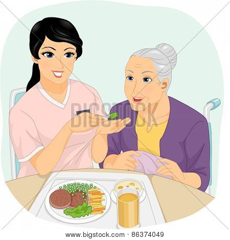 Illustration of a Nurse Helping a Senior Citizen to Eat