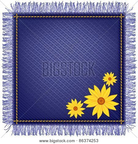 Napkin From Jeans Fabric And Flowers