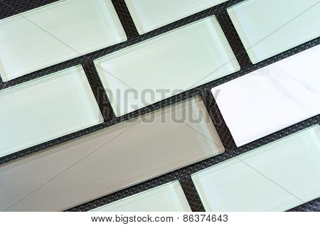 Glass And Porcelain Backsplash Tile Rows