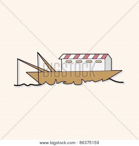 Fishing Boat Cartoon Theme Elements