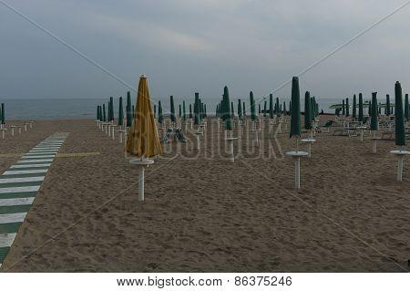 Early morning in Lido di Jesolo,  venetian Riviera, Italy