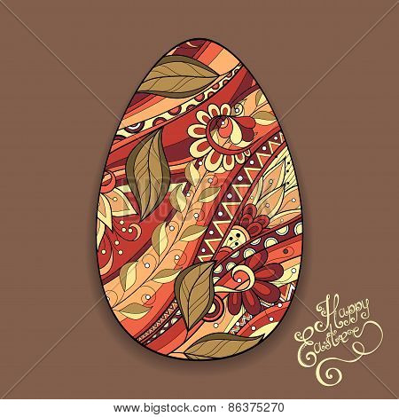 Vector Holiday Floral Easter Egg with Inscription Happy Easter