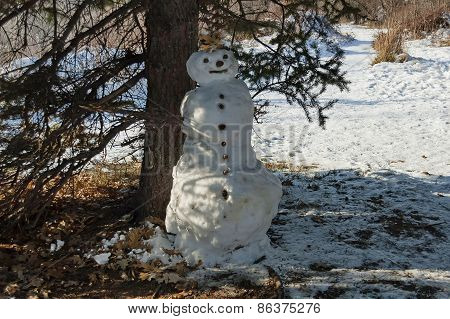Snowman in the park, kids made, Sofia