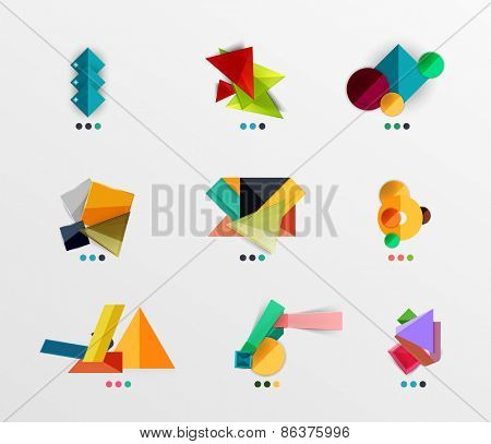 Blank abstract geometric layouts, business or web design presentation box