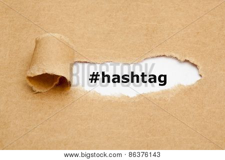Hashtag Torn Paper Concept