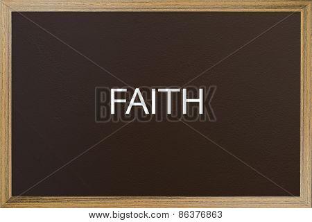 Faith Word On Brown Backboard